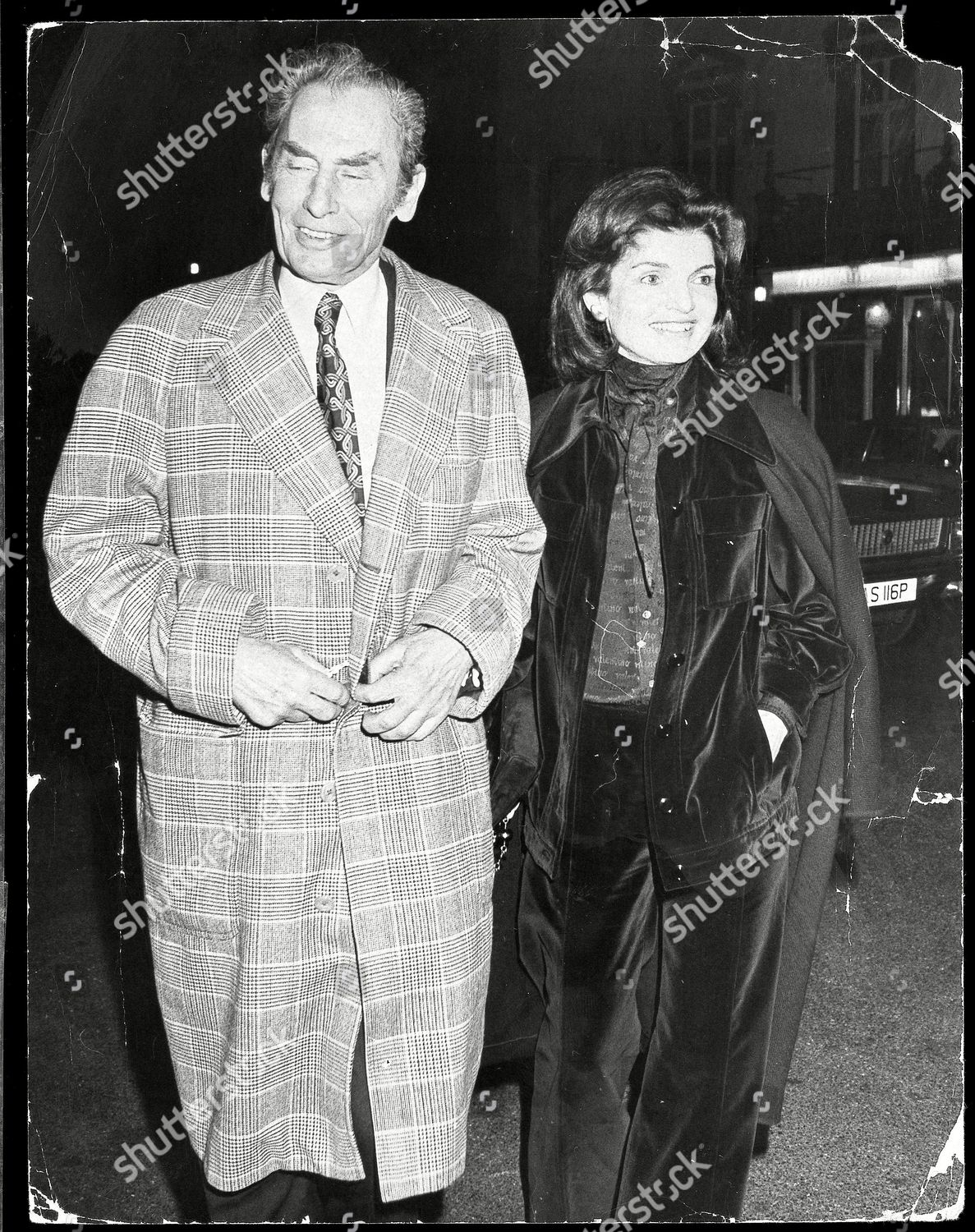 Jackie Onassis Hugh Fraser Pictured Arriiving French Editorial Stock