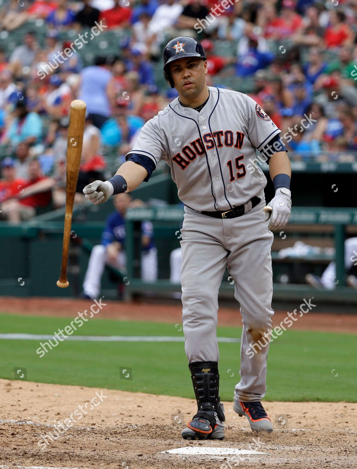 Houston Astros Carlos Beltran Tosses His Bat Editorial Stock