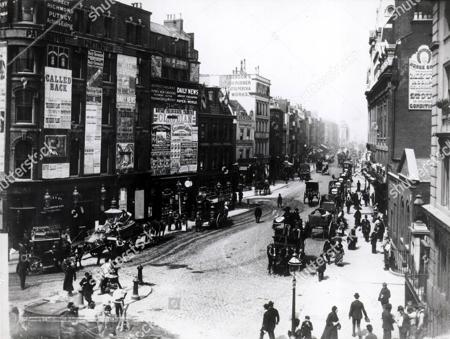 Stock photo of Tottenham Court Road In The Victorian Period. Shows Posters For Caudian At The Royal Princess's Theatre The Horseshoe Brewery And Benson's India Rubber And Gutta Percha Works (date Unknown) 1880/1890 Old Time London Lp. 203 Pkt.