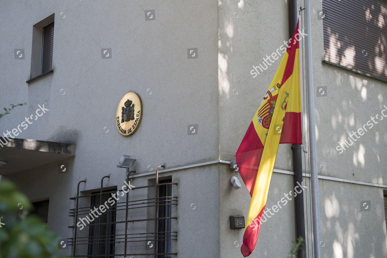 Spanish flag set halfmast Spanish embassy following Editorial Stock