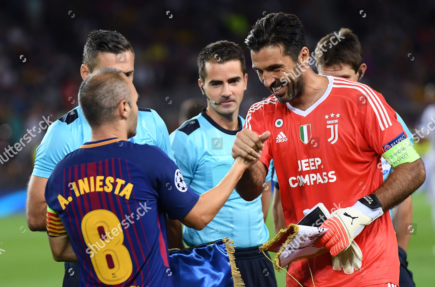Gianluigi Buffon Juventus Fc Greets Andres Iniesta Editorial Stock Photo Stock Image Shutterstock