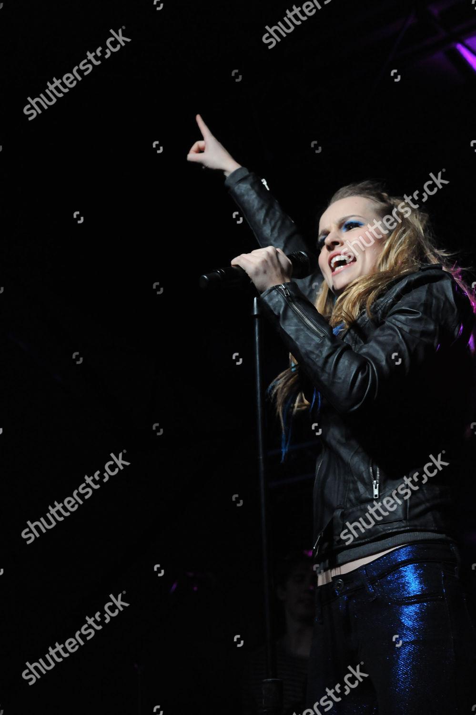 Brigit Mendler Performs Rock Red Kettle Benefit Stock Photo