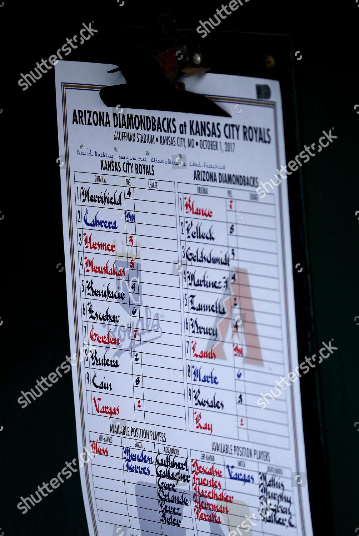 starting lineup seen Kansas City Royals dugout Editorial Stock Photo