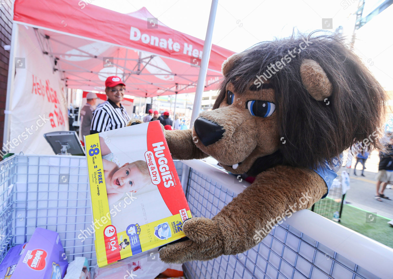 Detroit Lions Mascot Roary Donates Box Diapers Editorial