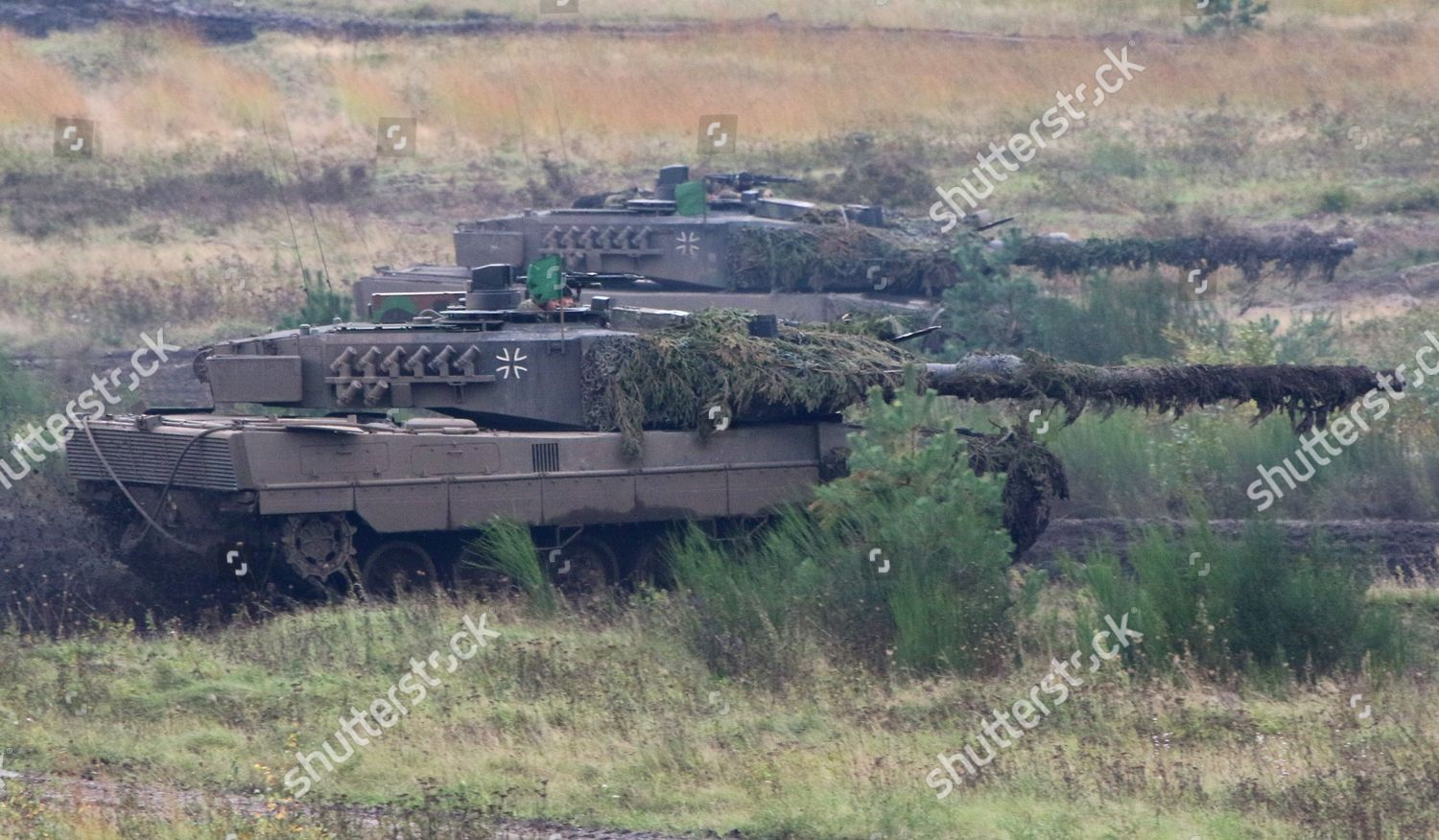 Two Leopard 2A7 tanks during media presentation Editorial