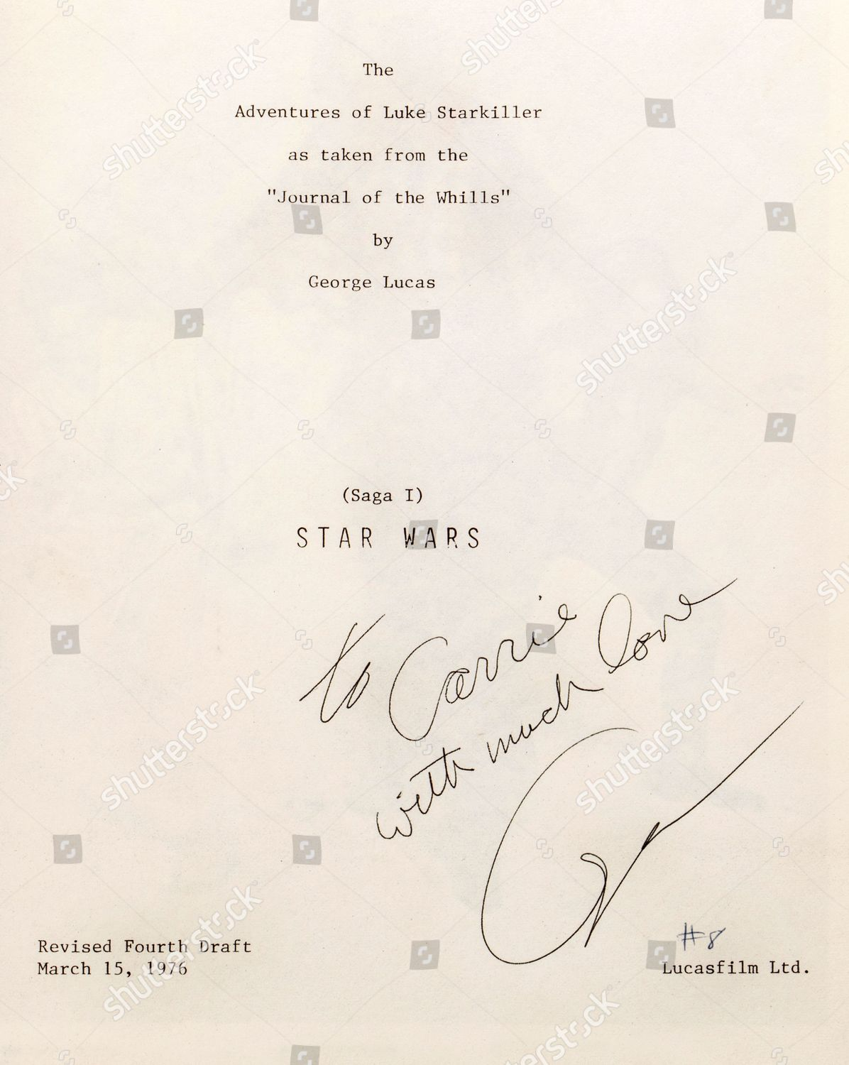 inside cover Carrie Fishers bound presentation script Editorial ...