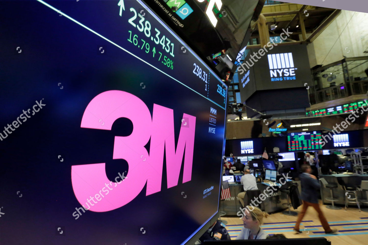 logo 3M appears on screen above trading Editorial Stock Photo