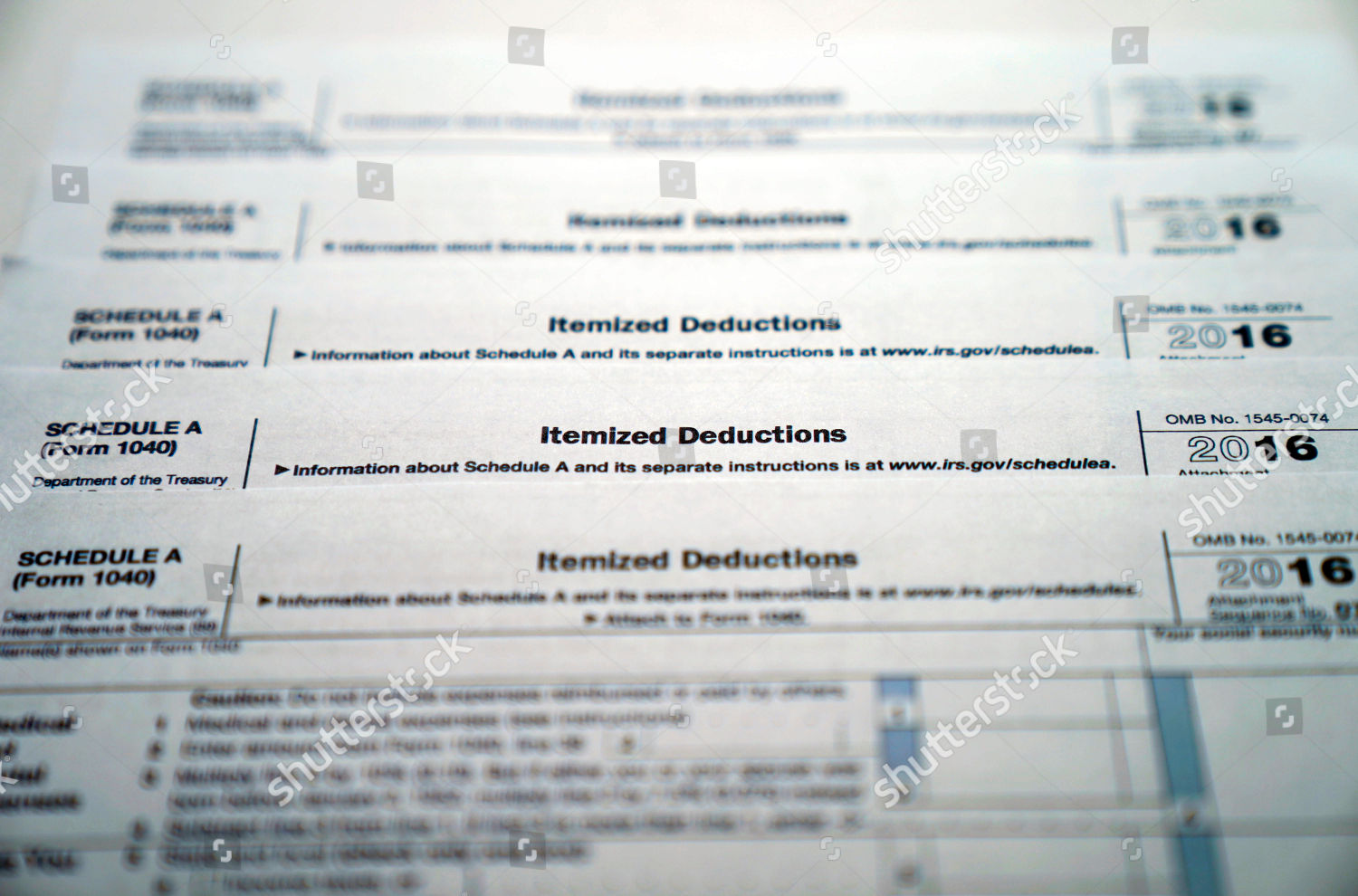 Irs Form 1040 Schedule A Medical Dental Editorial Stock Photo