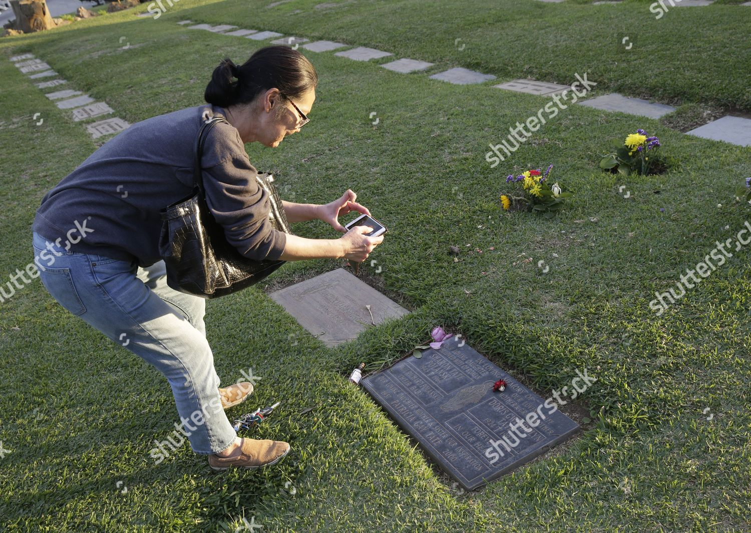 woman takes pictures grave US actress Sharon Editorial Stock Photo