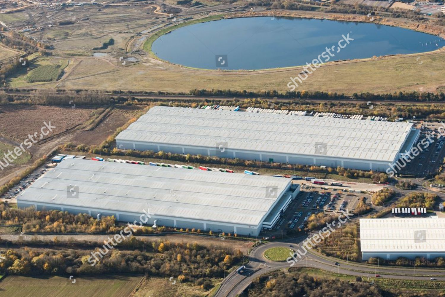 Aerial view Amazon Fulfillment Center Editorial Stock Photo