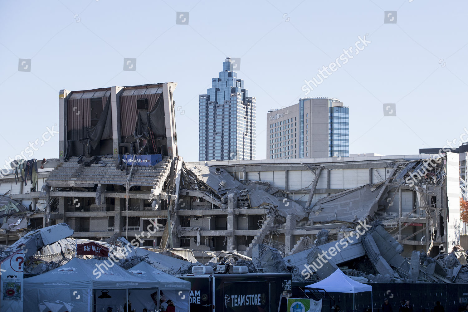 view remains old Georgia Dome following ongoing Editorial Stock