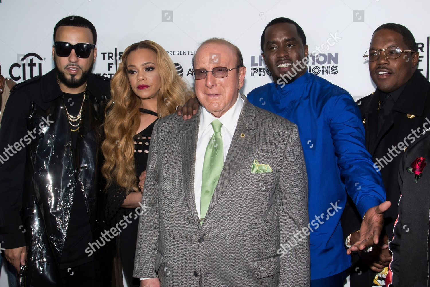 French Montana left Faith Evans Clive Davis Editorial Stock