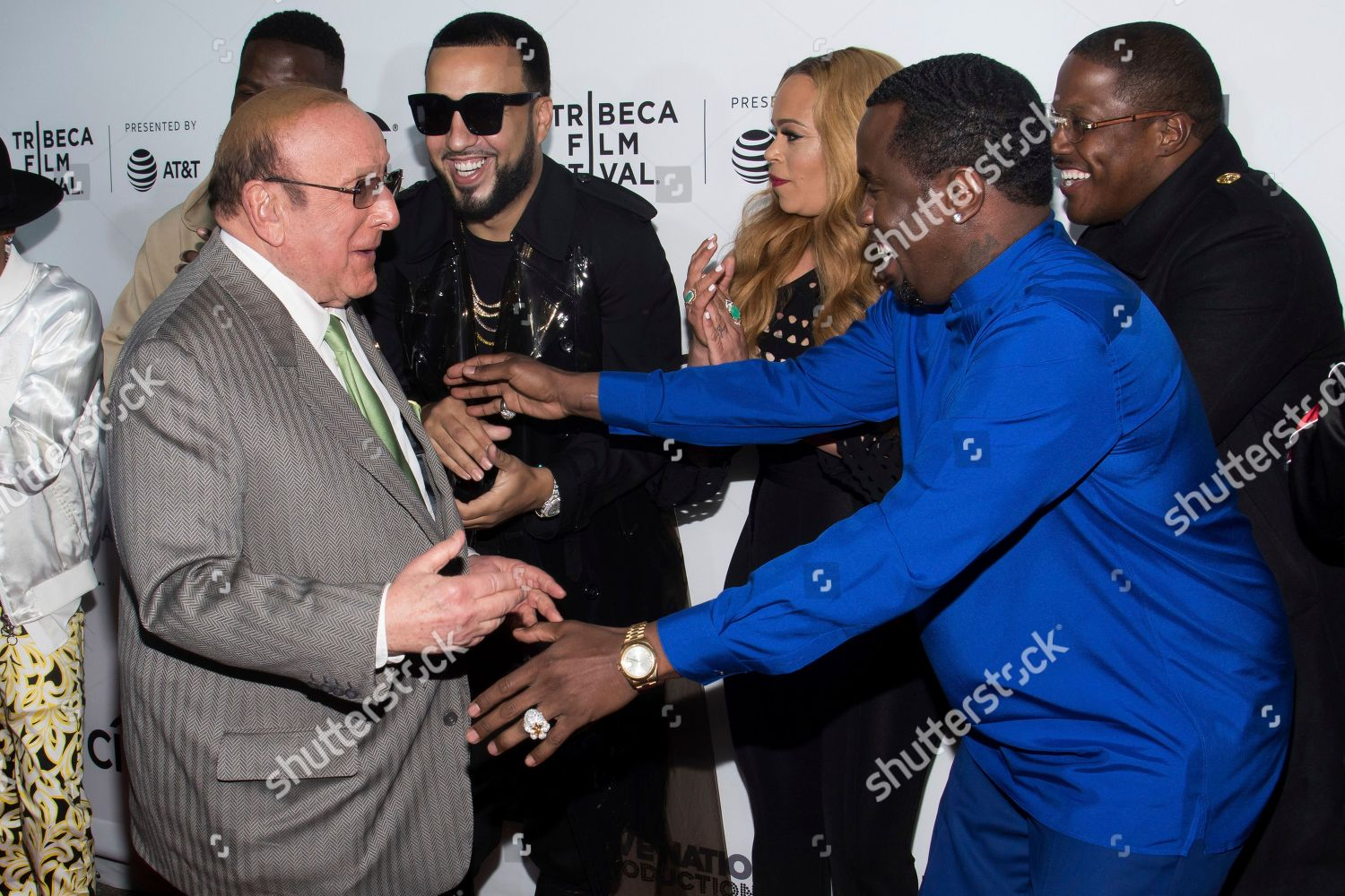 Clive Davis left French Montana Faith Evans Editorial Stock