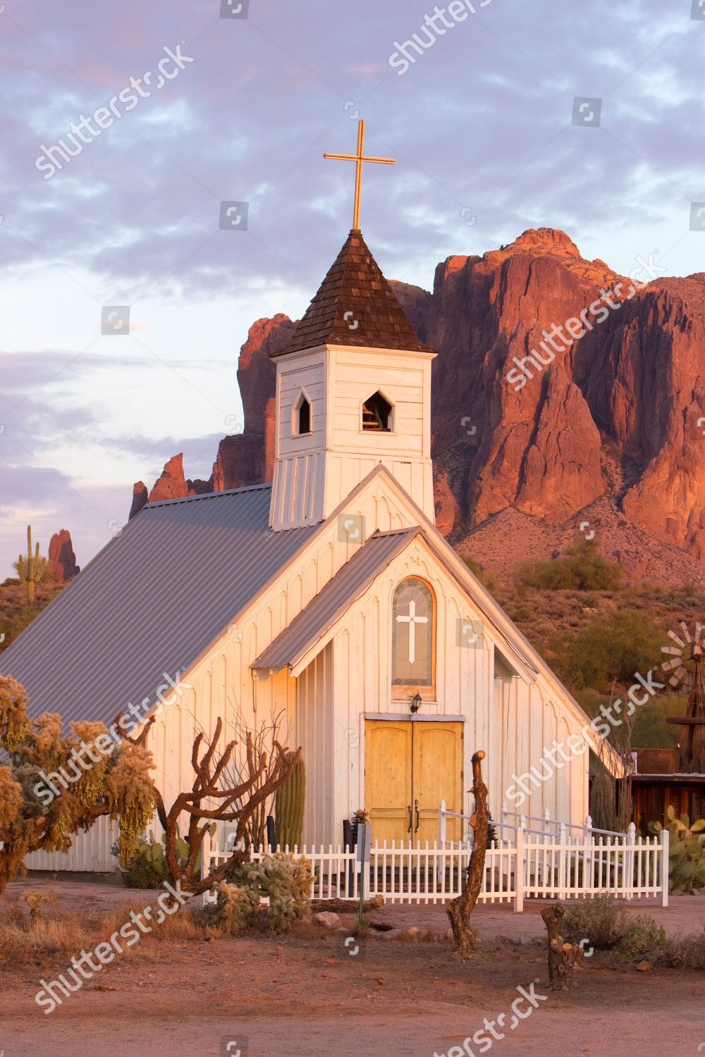 Supermoon over Elvis Chapel Superstition Mountains Apache