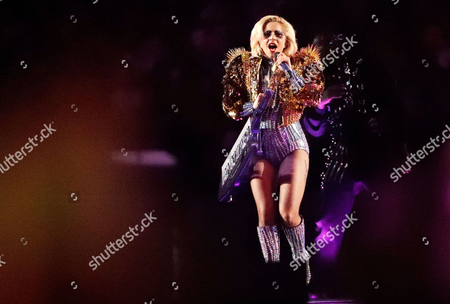 Lady Gaga performs during halftime show NFL Editorial Stock