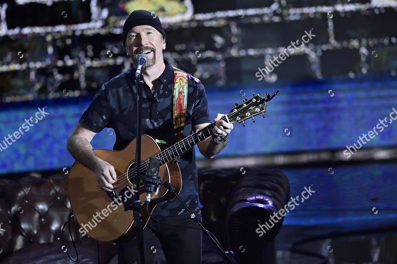 Edge lead guitarist Irish rock band U2 Editorial Stock Photo - Stock