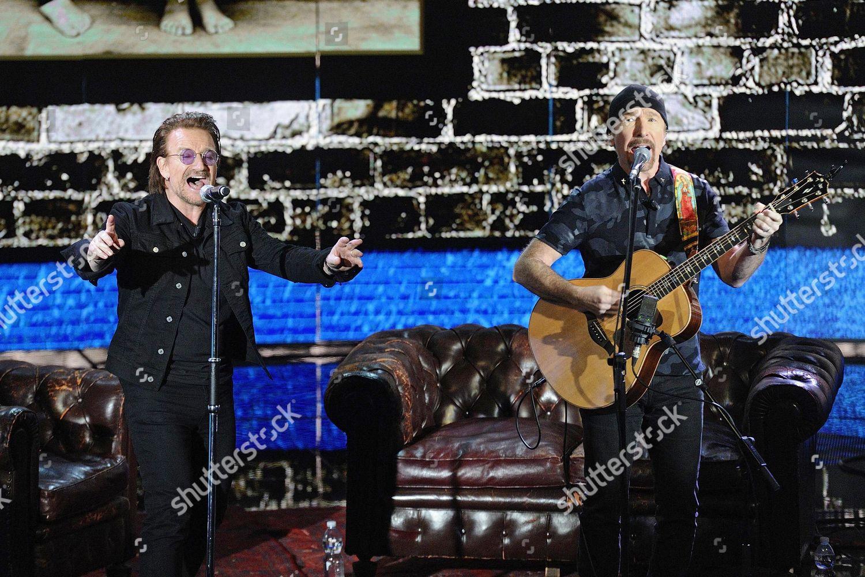 Bono l Edge r Irish rock band Editorial Stock Photo - Stock