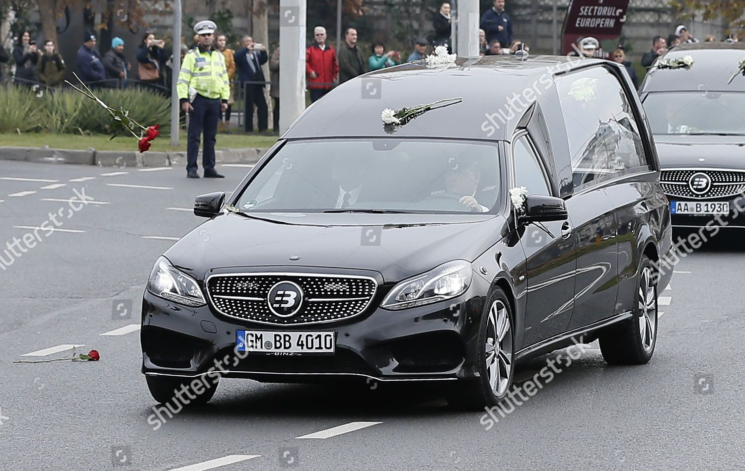 Flowers Thrown Towards Car That Transports Coffin Editorial Stock