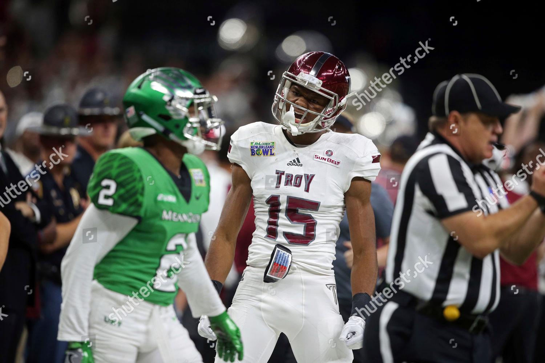 newest 4e35e b56dd Troy wide receiver Damion Willis 15 celebrates Editorial ...