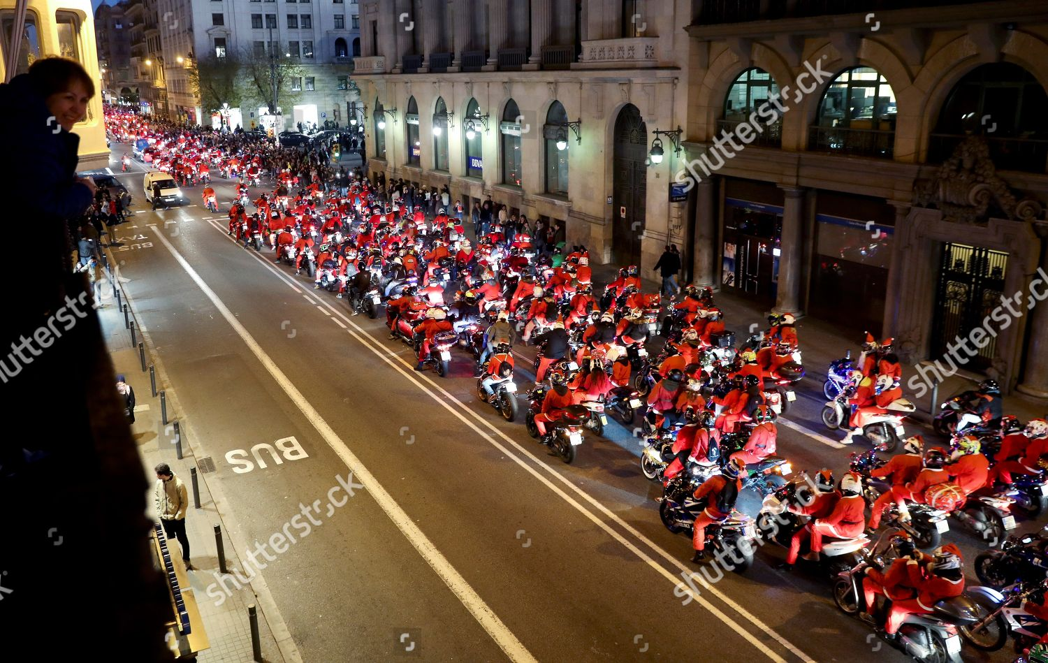 Christmas In Barcelona Spain.Thousands Motorcyclists Gather Dressed Father Christmas