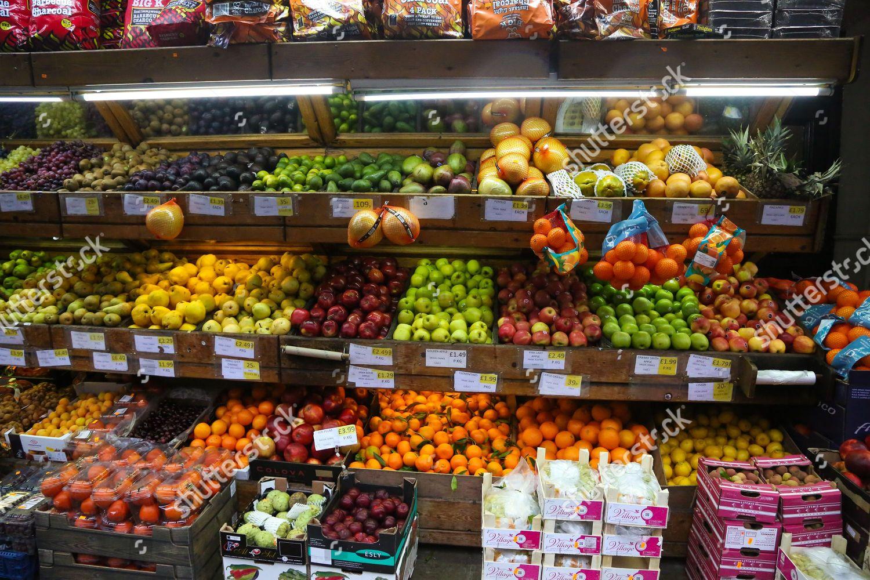 Turkish fruit vegetable shop on Green Lanes Editorial Stock