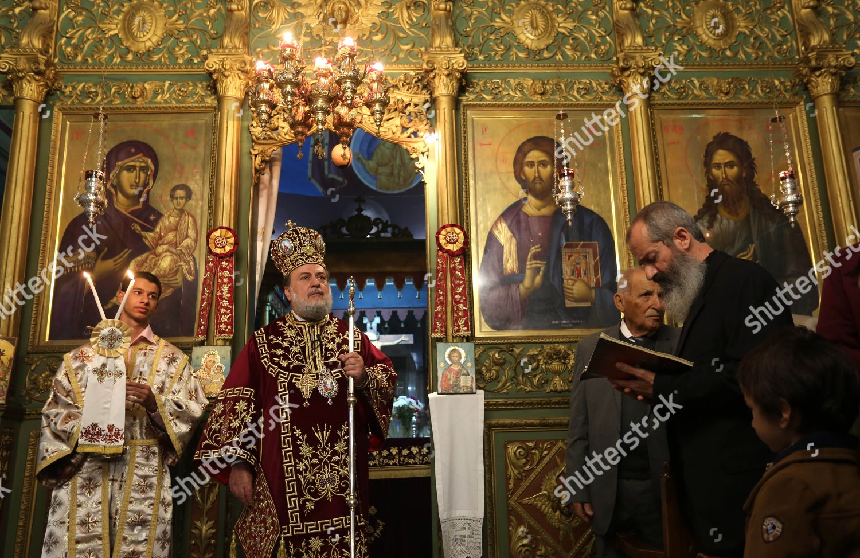 Greek Orthodox Christmas.Greek Orthodox Archbishop Alexios Holds Orthodox Christmas