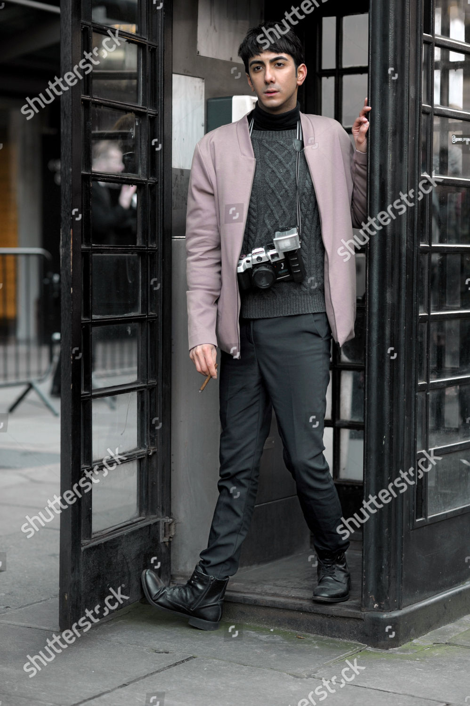 Street Style Photographer On Strand London Fashion Editorial Stock