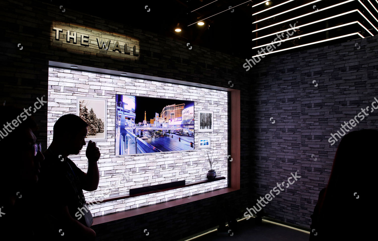 Samsungs The Wall modular television on display Editorial Stock
