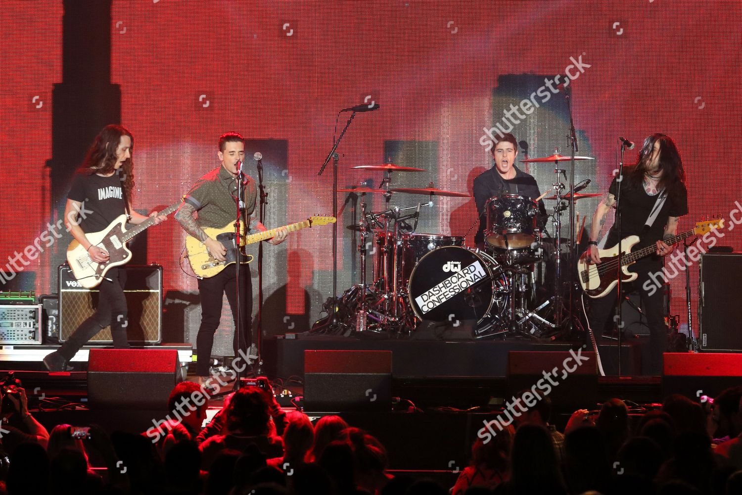 Rock band Dashboard Confessional perform on stage Editorial