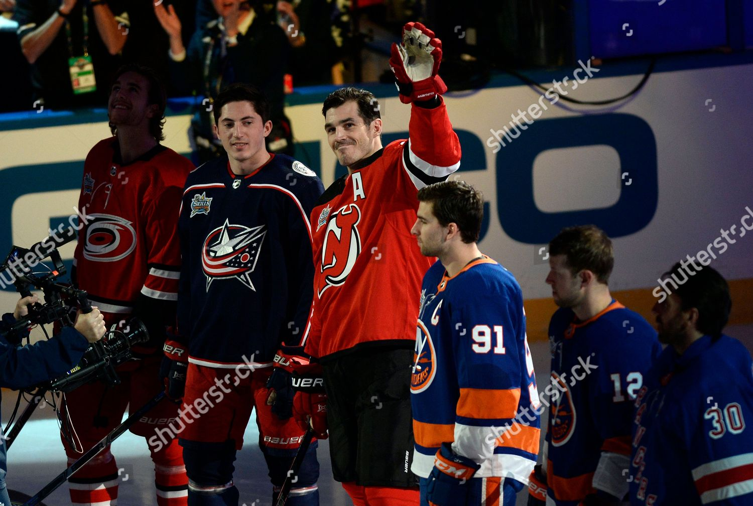 New Jersey Devils forward Brian Boyle waves Stock Photo (9336659a ... 50cd71398