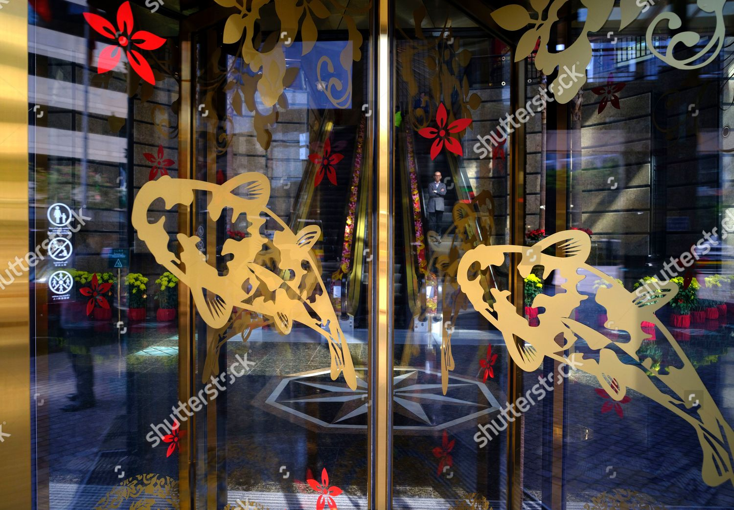 Chinese New Year Decorations Displayed Office Building