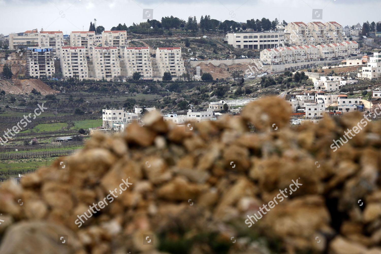 general view shows houses Israeli settlment Kiryat Editorial Stock