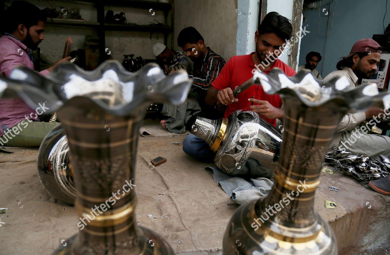 Pakistani Artisans Make Cooper Brass Handicrafts Shop Editorial