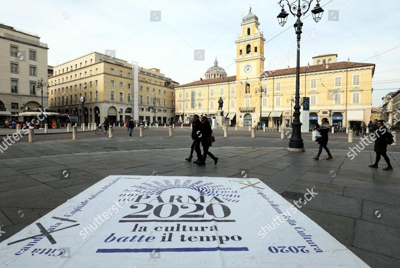 view Garibaldi Square Piazza Garibaldi Parma Italy Editorial