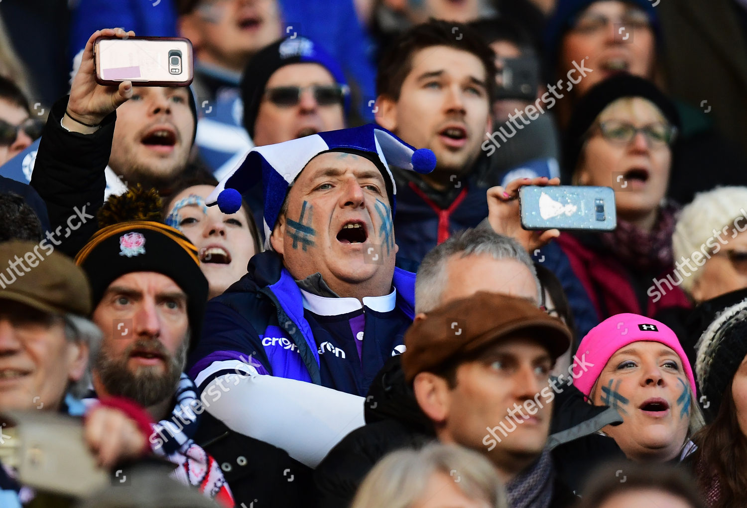 Scotland fans sing national anthem Editorial Stock Photo