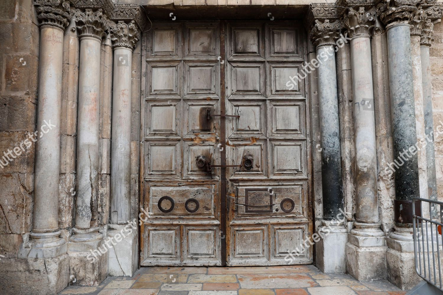 entrance door Church Holy Sepulcher closed Old Editorial Stock Photo