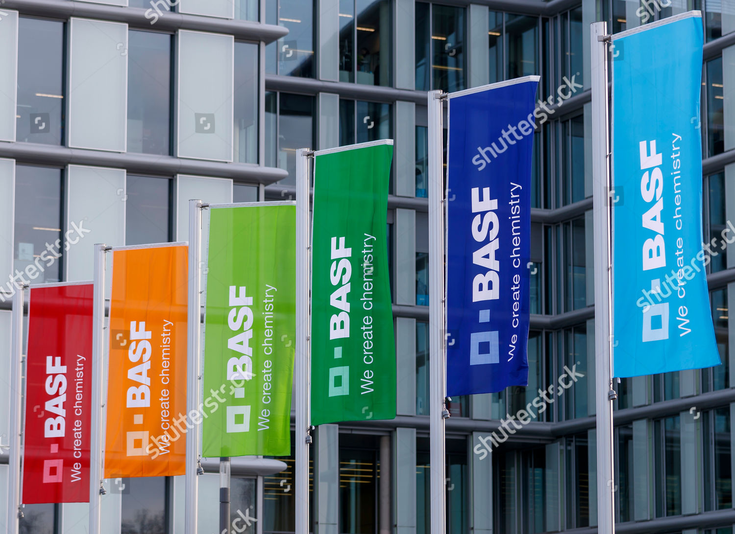 Flags logo German chemicals company BASF fly Editorial Stock
