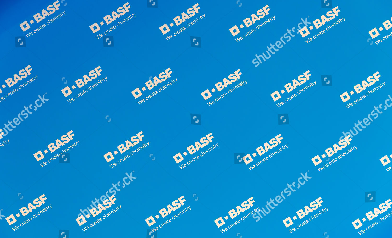 Logos BASF SE seen on wall during Editorial Stock Photo