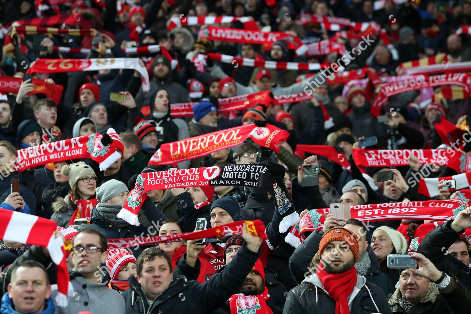 Liverpool Fans Hold Scarves They Sing Prior Editorial Stock Photo Stock Image Shutterstock