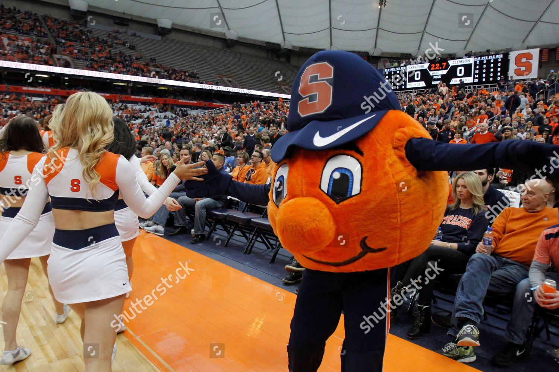 Syracuses Mascot Otto Orange Right Slaps Hands Stock Photo 9447873d