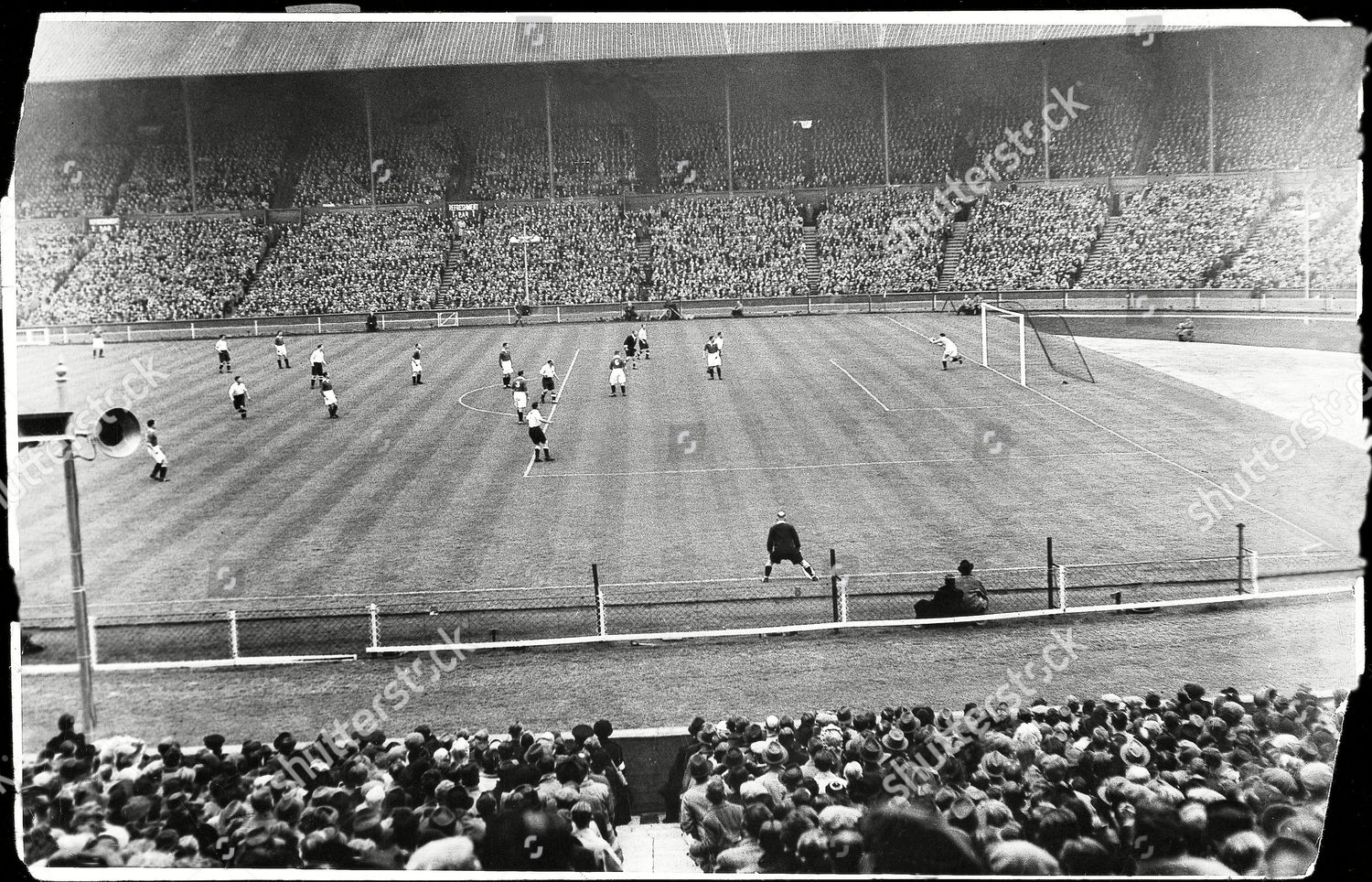 Stock photo of 1945 Wartime Fa Cup Final Between Chelsea And Millwall Won By Chelsea 2-0. Chelsea Goalkeeper Black Saving A Shot During The South Cup Final At Wembley.