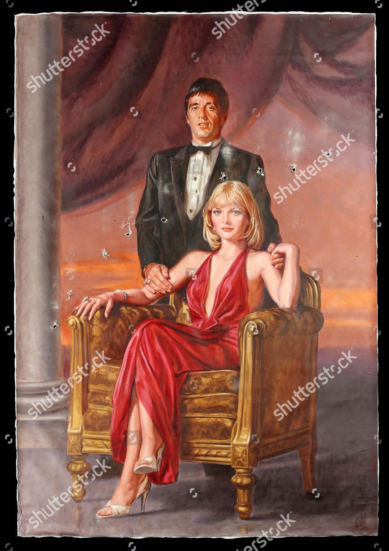 Handpainted Portrait Tony Montana Al Pacino Elvira Foto