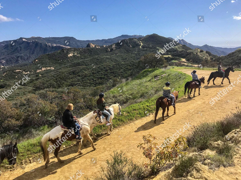 Group Horseback Riders Led Along Summittosummit Trail Editorial