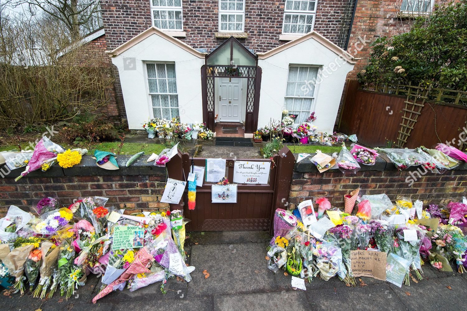 Rows Flowers Tributes Left Outside Ken Dodds Editorial Stock Photo