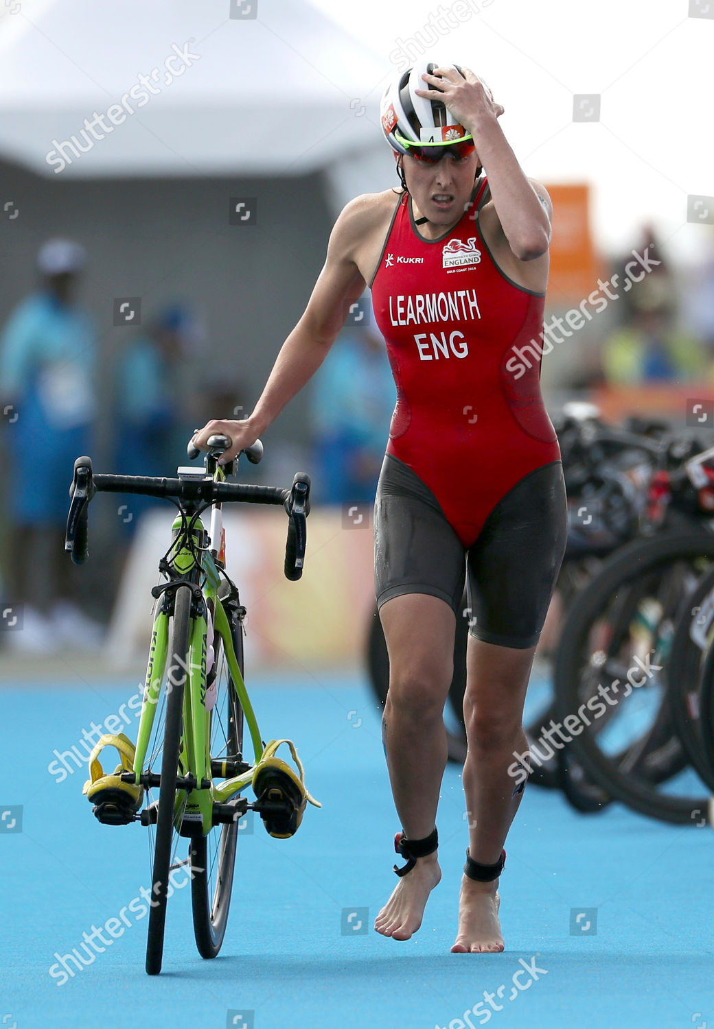 Jessica Learmonth England runs her bicycle during Editorial