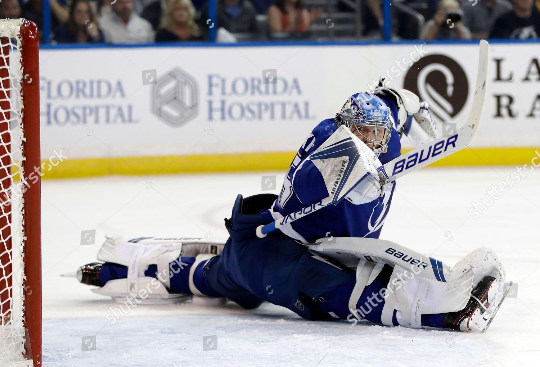 Tampa Bay Lightning Goaltender Andrei Vasilevskiy Stretches