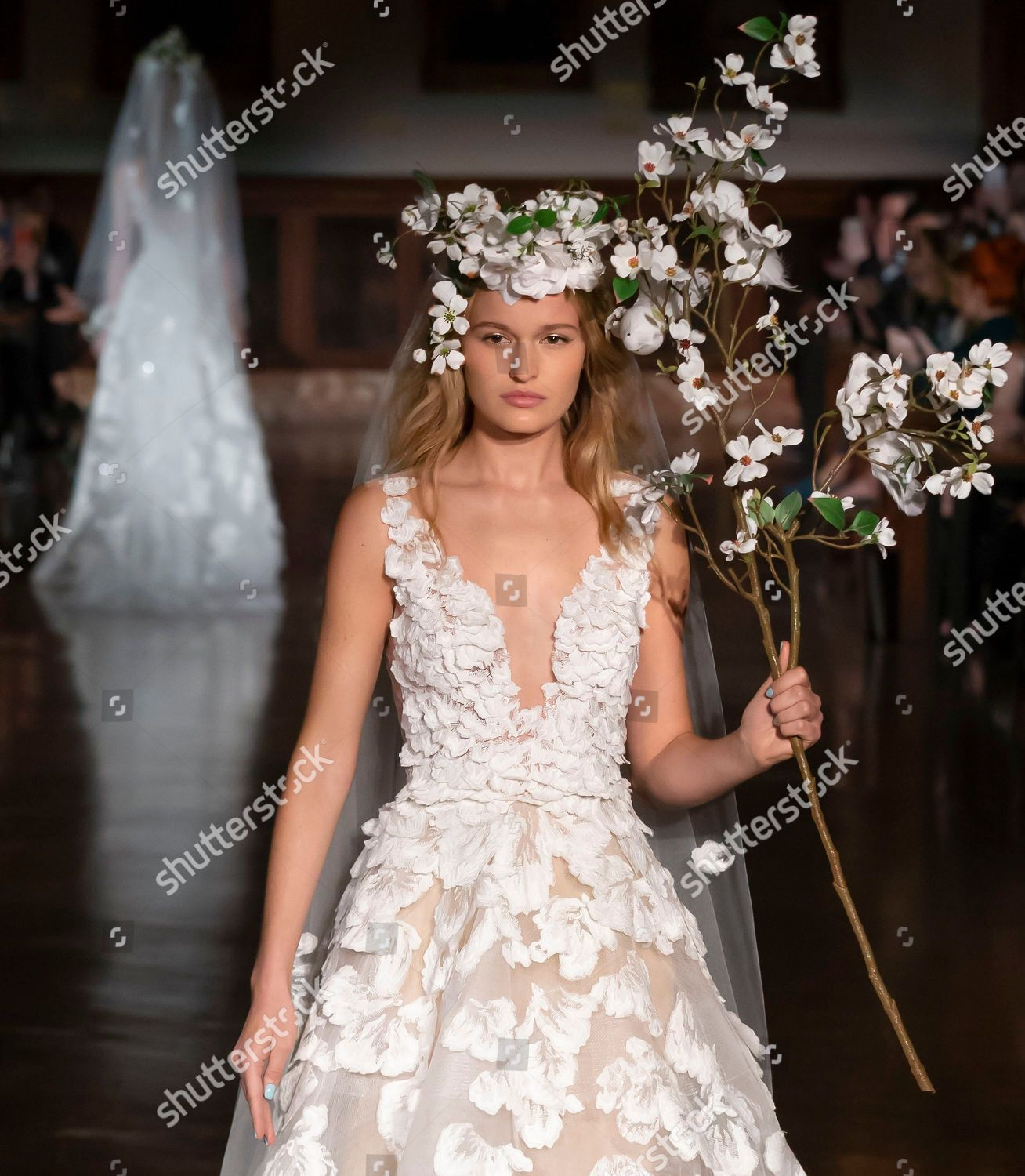 0a7b02e74b26 Reem Acra Bridal show, Runway, Spring 2019, New York Bridal Week, USA Stock  Image by Ovidiu Hrubaru for editorial use, Apr 12, 2018