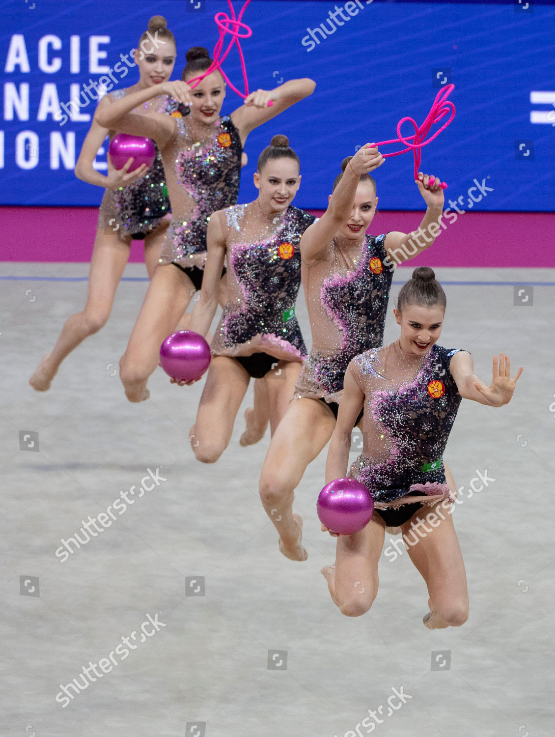 Russia team group RUS FIG Rhythmic Gymnastics Editorial Stock Photo