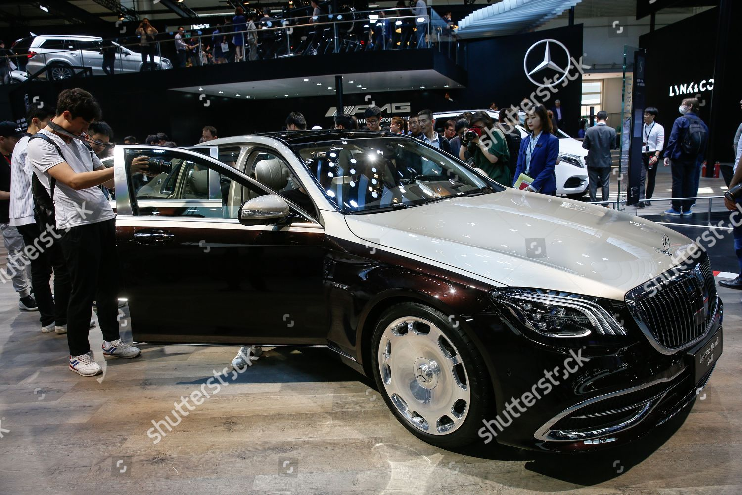 editorial stock photo of new mercedes maybach s680 car on display