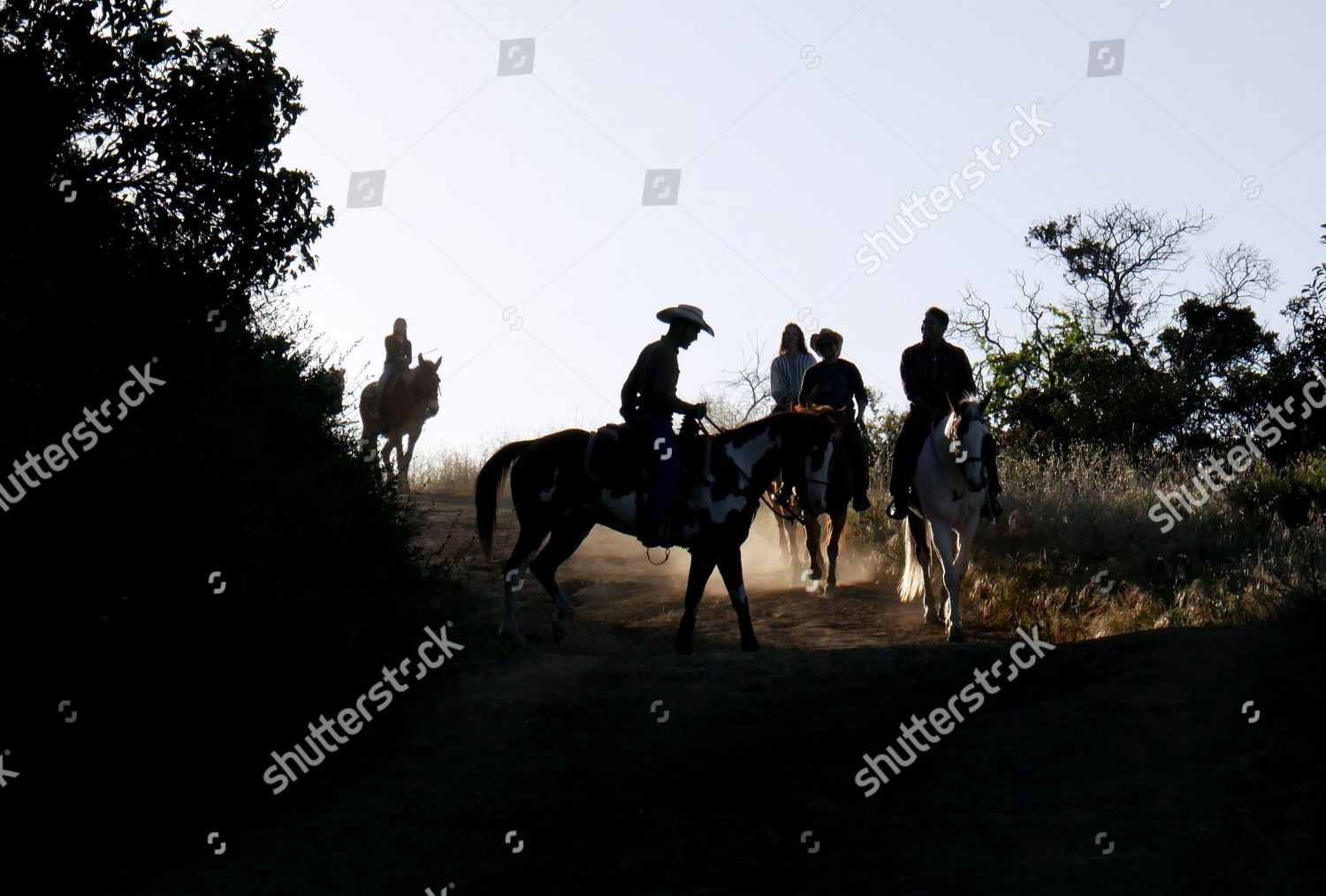 Group Horseback Riders Silhouetted Late Afternoon They Editorial